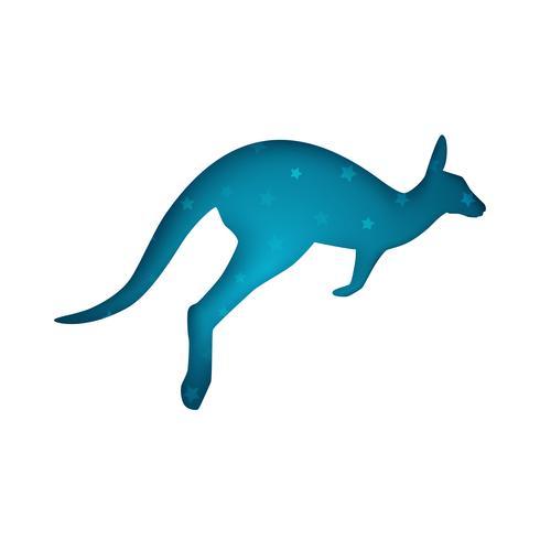 Tecknad origami känguru på den vita bakgrunden vektor