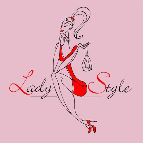 Schönes junges Modemädchen. Stilvolle Frau in modischer Kleidung. Lady-Style. Das Mädchen mit der Handtasche. Vektor-illustration vektor