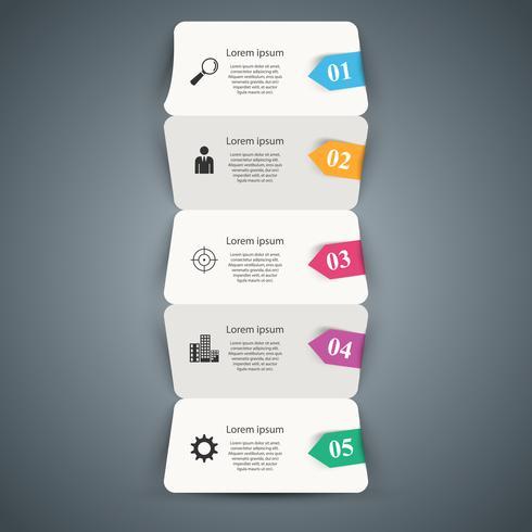 Fünf Papiergeschäftsorigami infographic. vektor