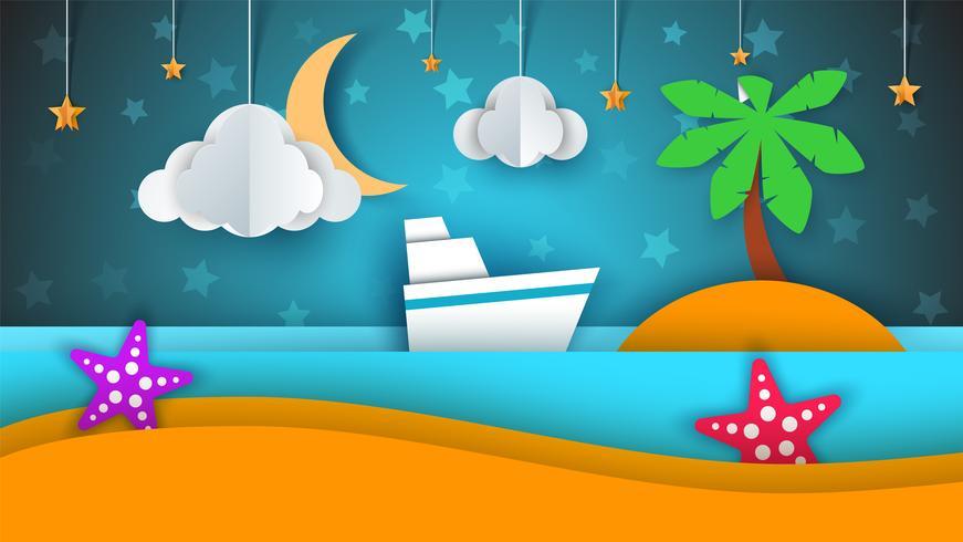 Ship, papper landskap, hav, moln, stjärntecknad illustration. vektor