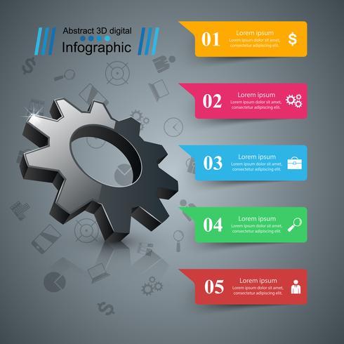 Kugghjul, växelsymbol. Business infographics. vektor