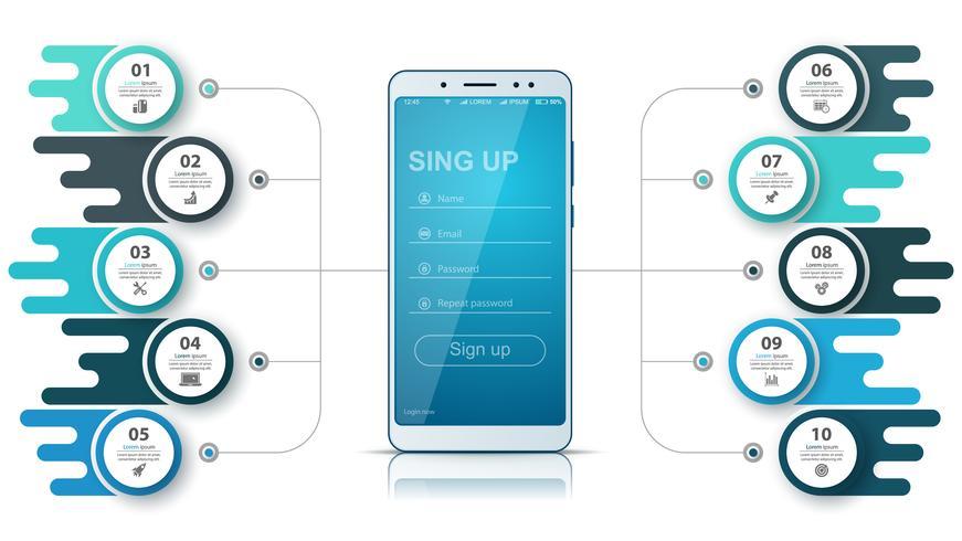 Smartfone Business Infografik. Geschäftsgrafik. vektor