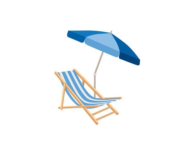 Chaise longue, parasoll. Däckstol sommar strandort symbol för semester vektor