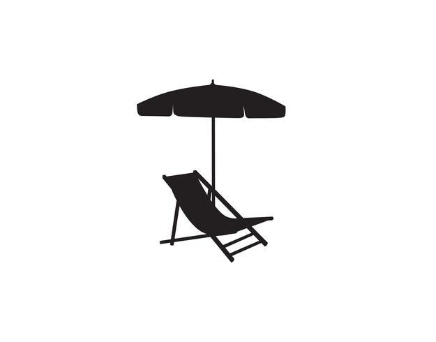 Däckstol paraply sommar strand semester symbol ikon. vektor