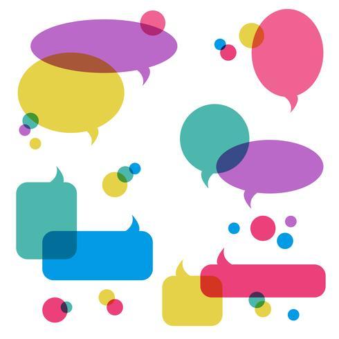 Färg genomskinliga talbubblor, inställda ikoner vektor