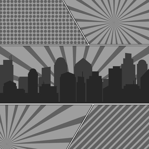 Monokrom serietidningssidor mall med radiella bakgrunder och stadssilhouette vektor