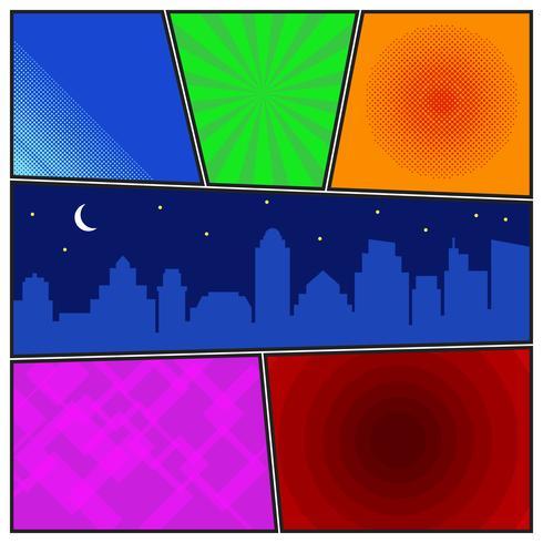 Comic book sidmall med radiala bakgrunder och nattstadssilhouette vektor