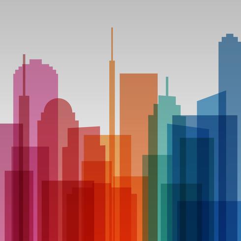 Färgglada genomskinliga stadsbilden bakgrund, modern arkitektur vektor