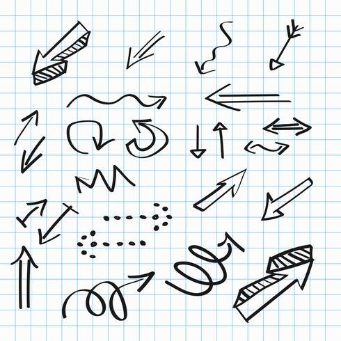 Pilar handgjorda ikoner, abstrakt doodle skrivande design vektor