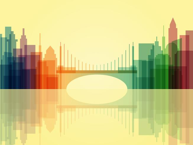 Snygg genomskinlig stadsbild bakgrund med bro vektor