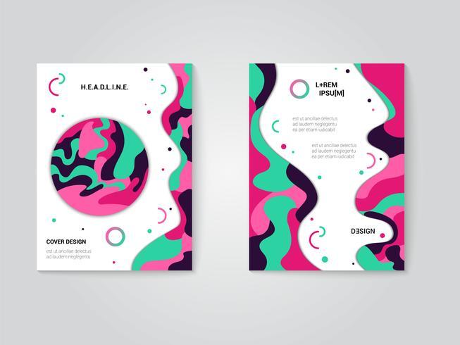 Modernes Prospektumschlagset, futuristisches Design mit trendigen Farben vektor