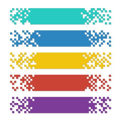 Satz Farbzusammenfassungs-Pixelnetzfahnen mit Schatten für Titel vektor