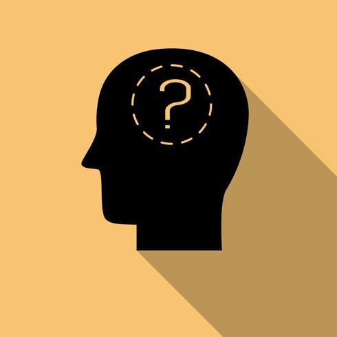 Menschlicher Kopf und Fragezeichen mit langem Schatten vektor