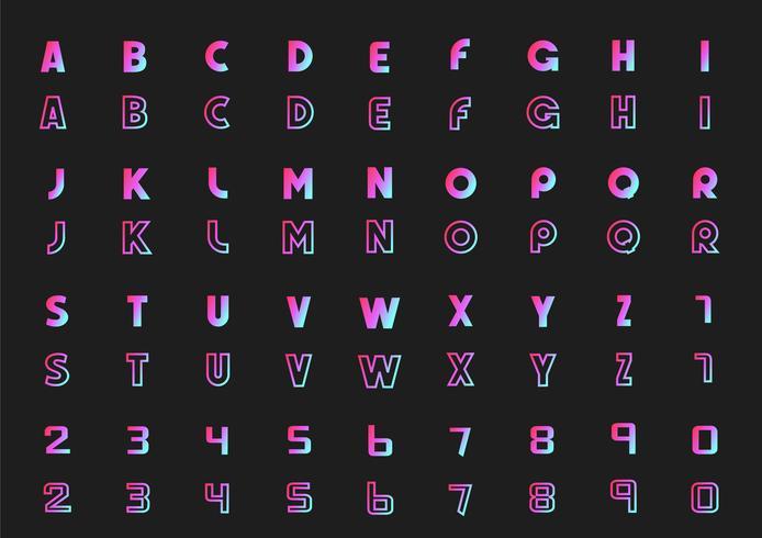Vektorsatz Buchstaben des Alphabetes und der Zahlen, Neonart vektor