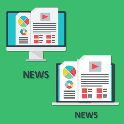 Set av digitala enheter ikoner, bärbar dator och dator, online nyheter i platt stil vektor