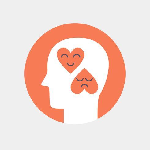 Menschlicher Kopf mit Herzen, flache Art des Gefühlikonen-Konzeptes vektor