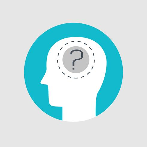 Menschlicher Kopf und Fragezeichen flachen Stil vektor