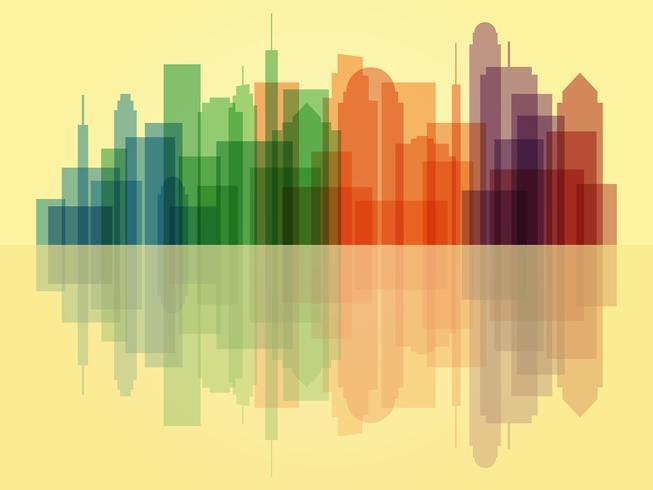 Bunter transparenter Stadtbildhintergrund vektor