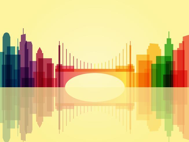 Snygg genomskinlig stadsbildsbakgrund med bro och reflektion vektor