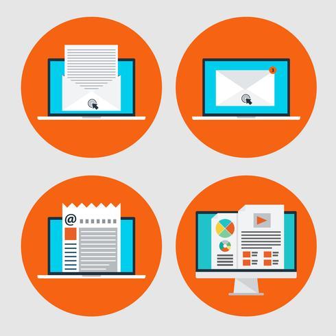 Set av ikon för konceptet e-postmarknadsföring, online-nyheter i platt stil vektor