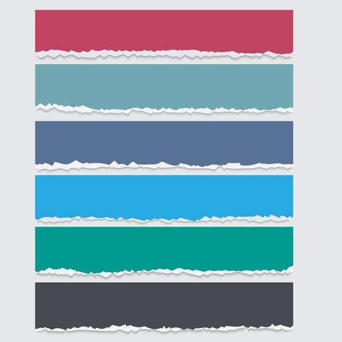 Vektor uppsättning färgade rifna pappersbanderoller med plats för text