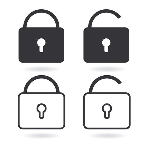 Vektor lås linje ikon och svart lås ikon isolerad på vitt