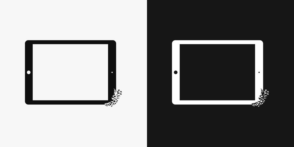 Conceptual crumbling Tablet PC-ikon vektor