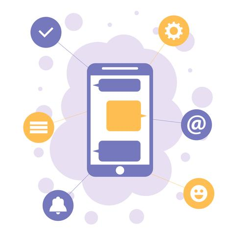 Smartphone mit apps Ikonen, flaches Konzept des Entwurfes der Mobilkommunikation vektor
