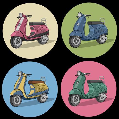 Set med färgglada retro scooter ikoner vektor