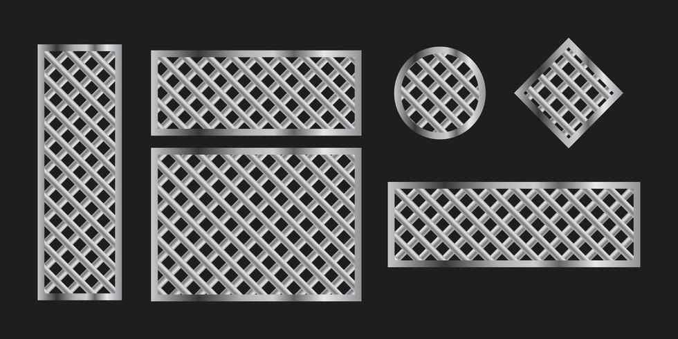 Metallgitterrahmen auf schwarzem Hintergrund, Vektorsatz vektor