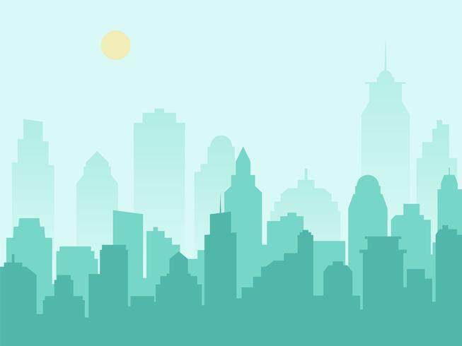 City silhuett stadsbild och morgon dimma vektor
