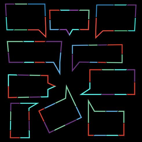 Set av talbubblor linjära ikoner med färgglada prickade linjer vektor