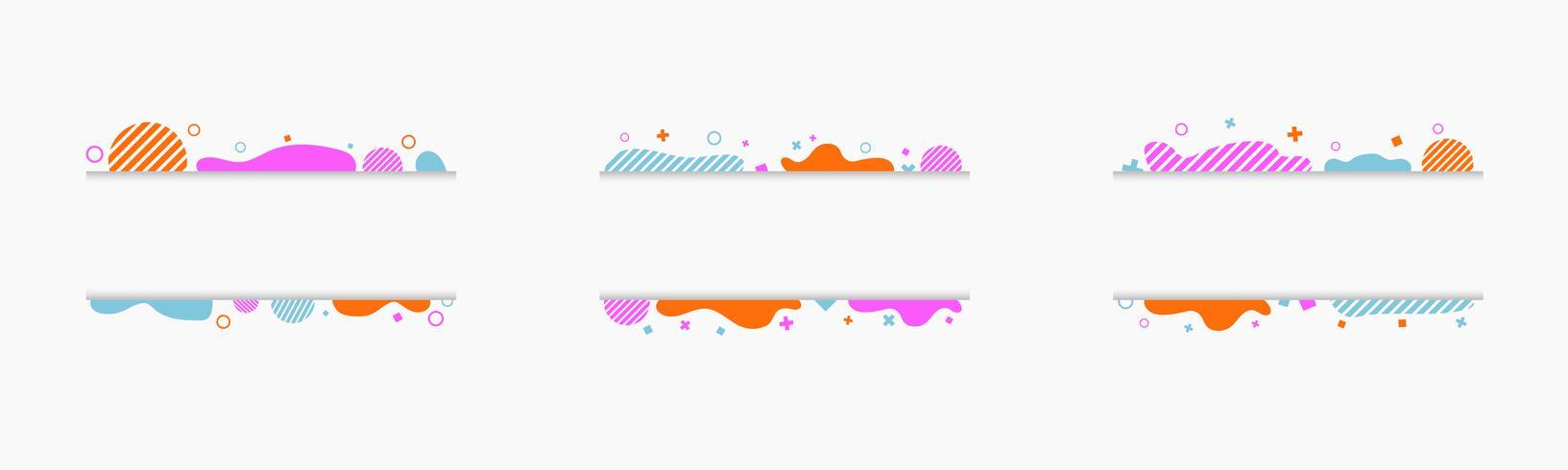 Memphis stil, vektor uppsättning av skära pappersbannor, ramar