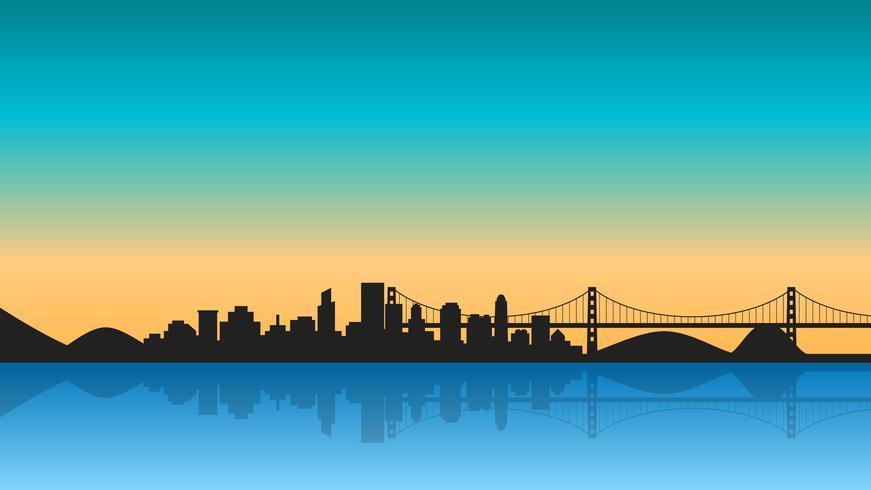 Schattenbild der Stadt mit Reflexion auf Sonnenaufgang vektor