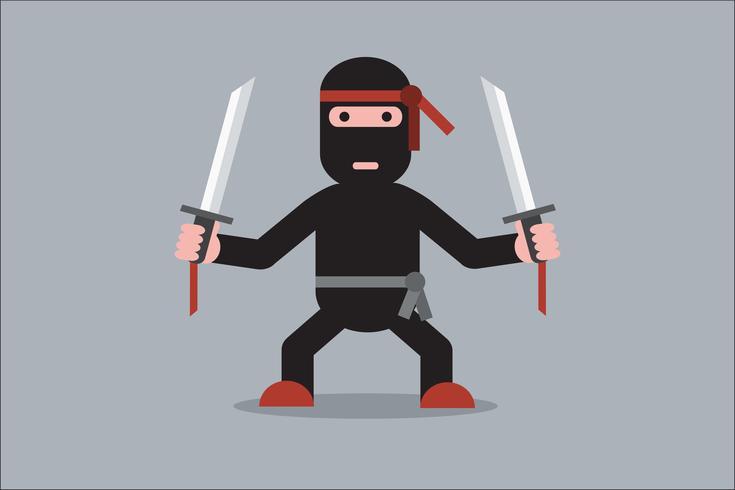 Ninja tecknad karaktär vektor
