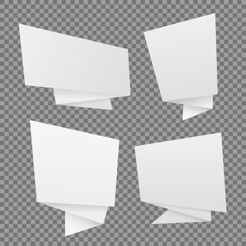 Vektor uppsättning vitpapper origami talbubblor