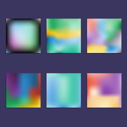Set av Hologram ljusa färgglada bakgrunder vektor