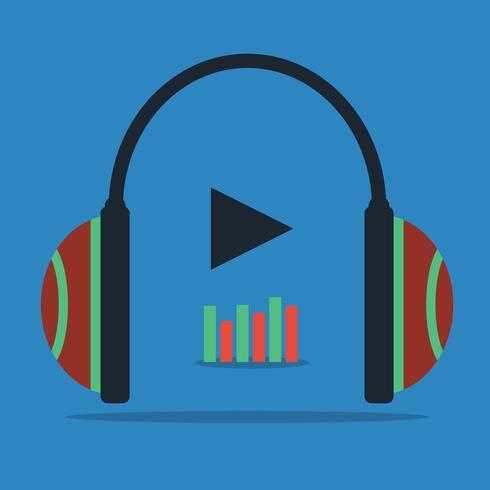 Flat begrepp - hörlurar med ljudvåg ikon vektor