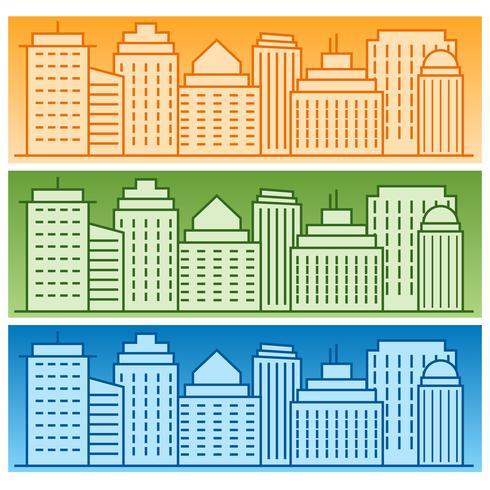 Vektor uppsättning banderoller med färgade linjära stadssilhouetter