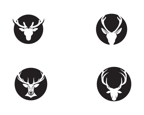 Rotwildkopfvektor-Logoschwarzes vektor