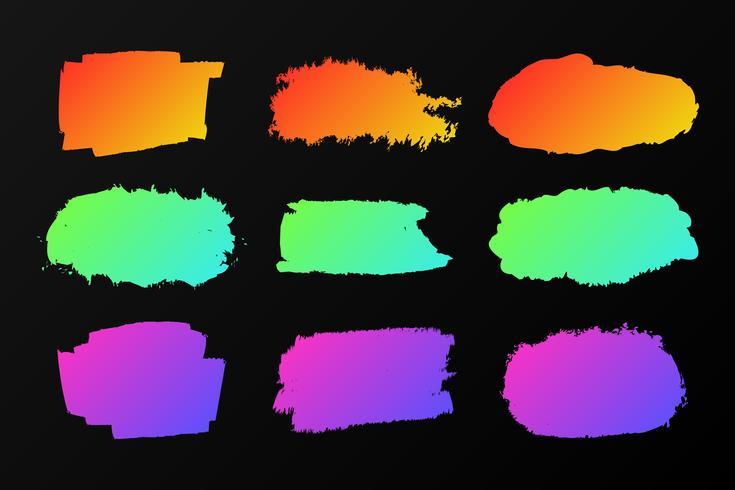 Sammlung bunte Farbenflecke auf einem Schwarzen, Neonmarkierung vektor