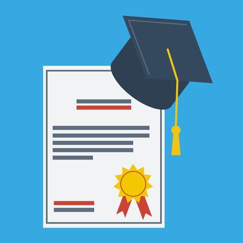 Abschlusskappe und Papier Abschluss Award flache Design-Ikone vektor
