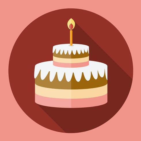 Geburtstagstorte flache Icon mit langen Schatten vektor