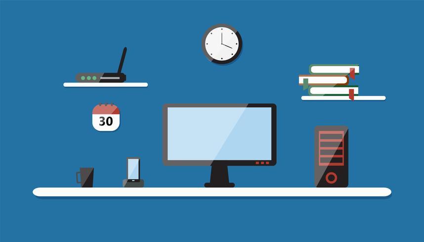Platt vektor illustration av modern arbetsplats