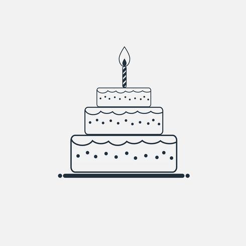 Linie Kuchen Symbol minimal flachen Stil vektor