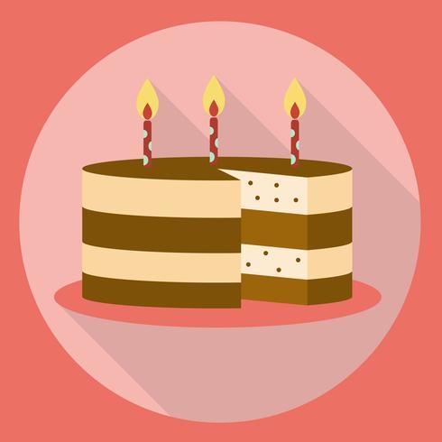 Flache Art der Geburtstagskuchenikone mit langem Schatten vektor