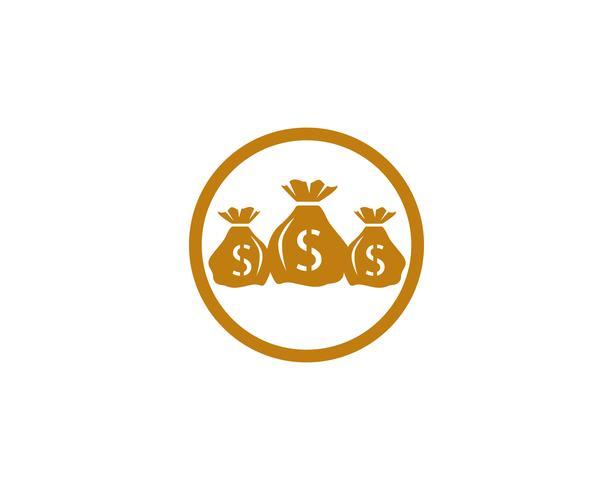 Pengar väska ikon Mall vektor illustration