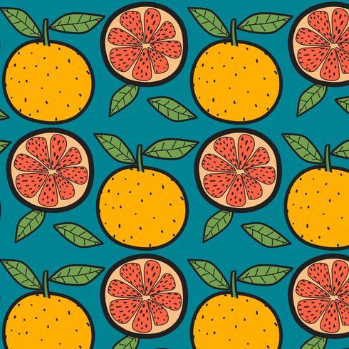 Appelsiner Frukt Mönster Med Blå Bakgrund. Handdragen Vektorillustration. vektor