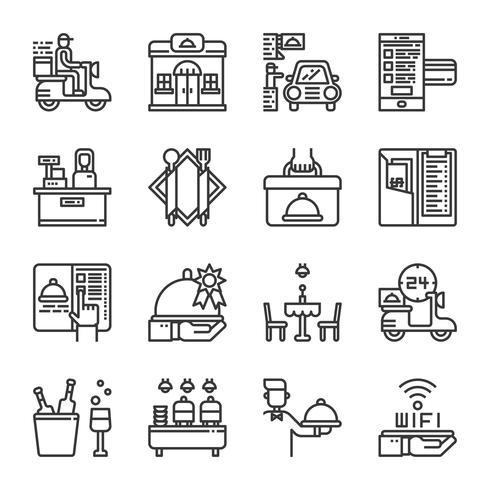 Restaurang service icon set.Vector illustration vektor