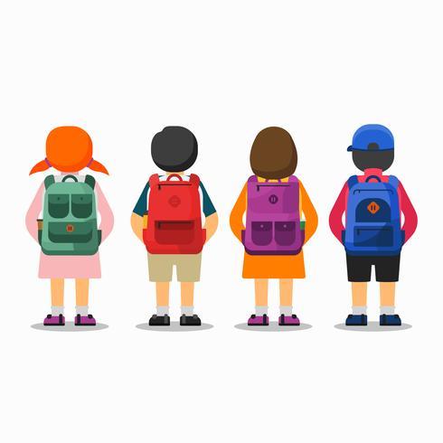 Gruppbarn Gå till skolan vektor